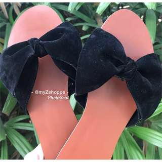 Big bow slip on chocolate brown