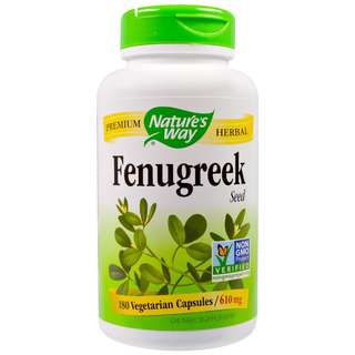 Nature's Way Fenugreek Seed 610mg - 180 Capsules. For Skin Hair Health and Breastfeeding mothers