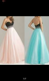 Strapless Tulle Long Evening Gown Bridesmaid Wedding Dress
