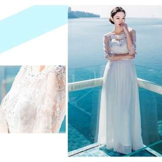Readystock white lace crochet chiffon bohemian long sleeve wedding or bridesmaid sexy elegant dress gown