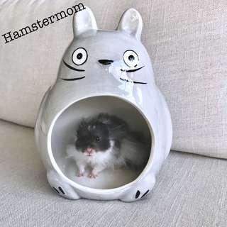 Giant Totoro Hamster / Chinchilla Ceramic Hideout House Toy