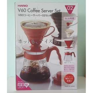 Hario V60 Coffee Server Set 02 (Red)