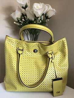 KAREN MILLEN Ladies Handbag Perforated Neon Yellow Mini Tote EC