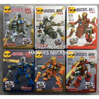 New Arrival Iron Man Minifigures with Mech and Tin Boxes Included 6in1 set