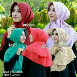 Hijab rubiah dua layer tali belakang