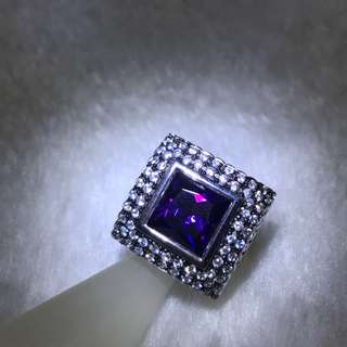 Emerald Cut Amethyst with Zircon Diamonds Ring