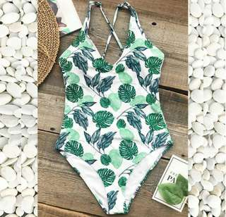One piece leafy swimsuit