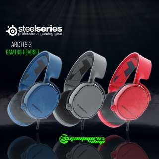SteelSeries Arctis 3 Limited Edition Gaming Headset -- Solar Red, Boreal Blue, Slate Grey