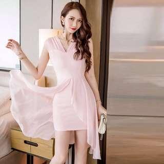 Mesh V Neck Asymmetrical Bodycon Dress
