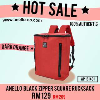 HOT SALE! Anello Black Zipper Square Rucksack