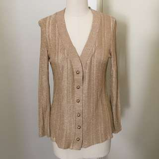 Vintage Gold Metallic Shiny SparkleJacket Blazer Sweater Top Blouse with Gold Buttons #nogstday
