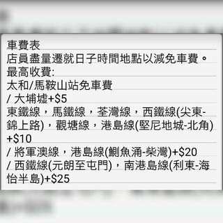 車費表(最高收費) Transportation fee(maximum)