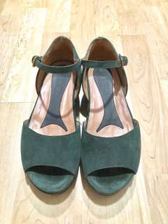MARNI Suede leather flatform sandals | Dark Green | EU 36 #easter20