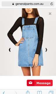 Subtitled Dazy Days Denim Blue Pinafore