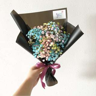 Rainbow Baby Breath Graduation Bouquet / Birthday Flowers