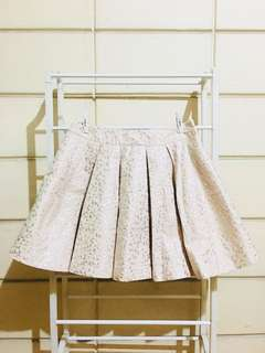 Mauve Pink Pleated Skirt with Mettalic Accent