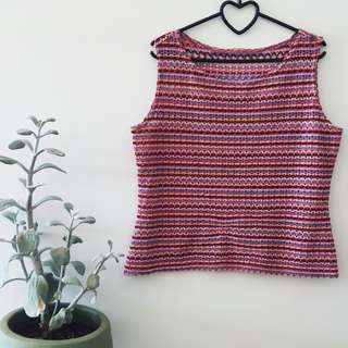 Knitted pink tank top