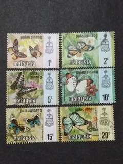 Malaysia 1971 Pulau Pinang Butterflies Definitive Loose Set - 6v MNH & Used Stamps