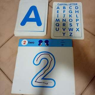 Children's flash cards and number booklets