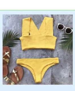 Two piece yellow swimwear