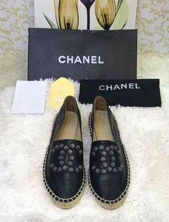 Chanel Black Camellia Studded Leather Espadrilles