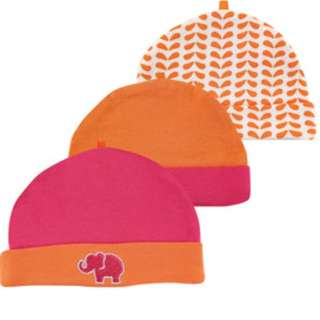 Yoga Sprout Baby Girl Caps For 0-6 Months , 3 piece pack (pink/orange elephant)