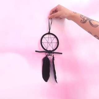 「黑色 印地安 捕夢網 Dreamcatcher 直徑約:12cm @公雞漢堡」
