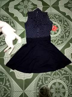 Brandnew Asos Polkadot Buttoned Up with Ribbon Dress