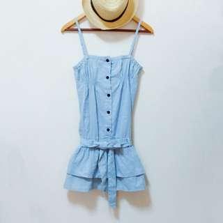 🚚 水玉淺藍細肩洋裝 #女裝半價