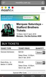 Marquee Saturday Stafford brothers tickets