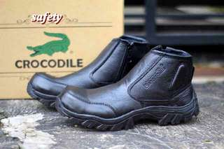 Crocodile boots zip safety leather
