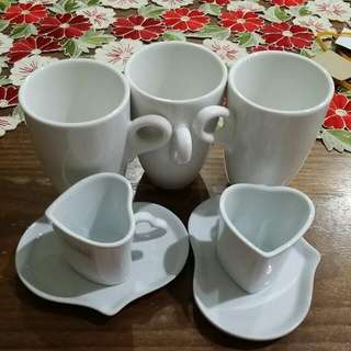 Fine Porcelain 7pc Set I 3 Cups 2 Sugar Creamer Milk Set