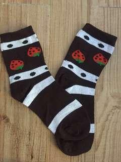 Strawberry-designed cotton socks