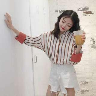 Korean baggy Long sleeved Striped Shirt