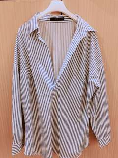 韓貨 直條紋襯衫 版型很修身 可休閒可正式