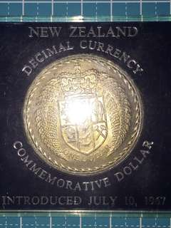 New Zealand Commemorative One Dollar Year 1967 UNC