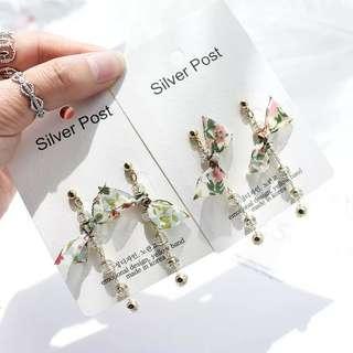 韓國進口東大門碎花雪紡透明珠子金屬長串女耳飾耳環