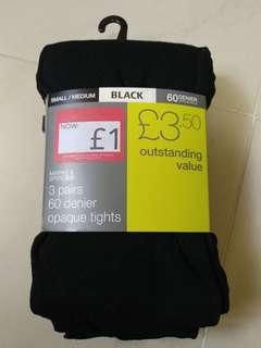 Marks & Spencer 女裝黑色襪褲3對