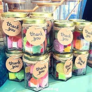 PO Chewy Candy Filled Hexagon Jar Berkat Favors