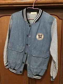 🚚 全新牛仔棒球拼接條紋袖保暖外套