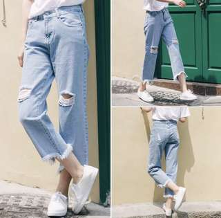 Light Blue Denim Ripped Jeans