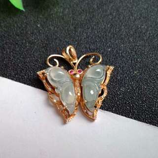 🍍18K Gold - Grade A 冰种 Icy White Butterfly Jadeite Jade Pendant🍍