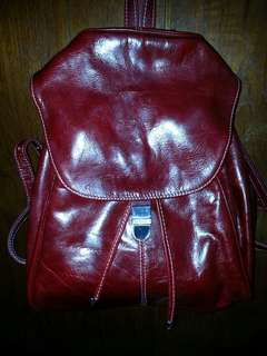 Backpack leather (maroon red)