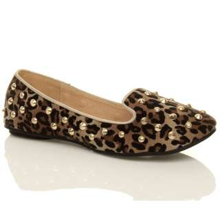 LEOPARD STUDDED LOAFERS