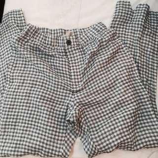 BNWT brandy Melville greenish blue plaid checkered Tilden pants authentic bm