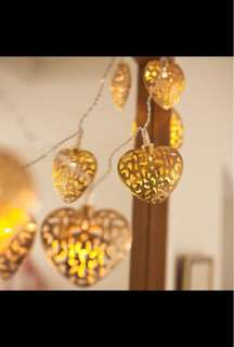 12 Gold Heart Shape Battery operated string LED Light