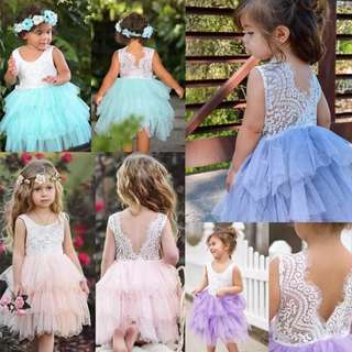Instock - fluffy lace dress, baby infant toddler girl children cute glad 123456789 lalalalal