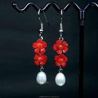 珍珠林~所剩無幾.賠售出清.阿卡玫瑰花珊瑚珍珠耳環.針夾式任選#478