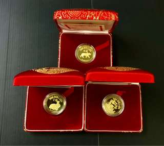 Singapore $500 Gold proof coin year-1983,1985,1986,1987,1988,1990,1991,1992 Total-8-Pcs with-Box,Cert.