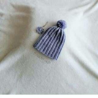 crochet pompom baby hat